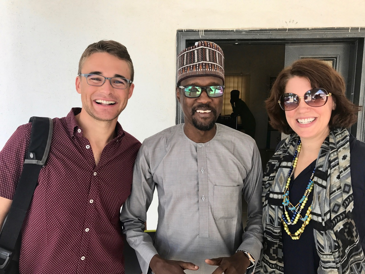 Alexa and Justin with a member of the NERI team in Maiduguri.